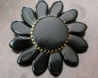 "Vintage Thick Black Acrylic Petals Gold Toned Flower Brooch  marked ""made in West Germany"" 2-3/4"""