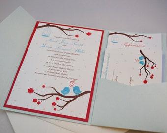 Printable PDF Love Bird Wedding Invitations for the DIY Bride