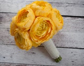 Yellow Ranunculus Wedding Bouquet with Pearl Handle
