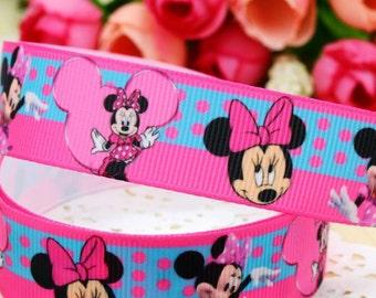 "CLEARANCE SALE* FREE Shipping* 4 yards x Grosgrain Disney Minnie 7/8"" Ribbon, Hair Bow Ribbon, Sewing Ribbon, Scrapbooking"