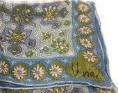 Vintage VERA Scarf VERA Neumann VERASHEER Scarf Square Scarf Blue Green White Flowers