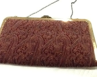 Vintage Velvet Evening Bag Gold Metal Frame Burgandy Paisley Fabric Clutch or Over the Shoulder