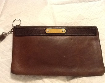 Vintage Brown Leather Pouch Purse