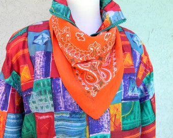 Southwestern Bandana - Vibrant Vintage 80s Orange and White Made in the USA Bandana Scarf - 100% Cotton - Paisley Print - Hav A Hank Brand