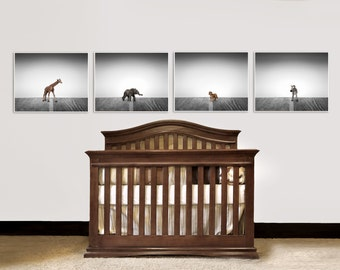 Nursery Decor, Baby animal art, Baby room ideas, Safari animals in Grey Tones, Set of Four Prints