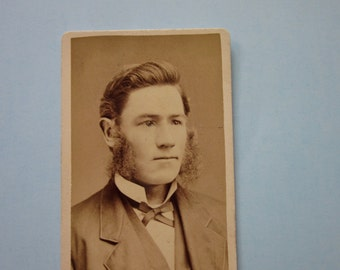 antique vintage photo card , early 1900's young man with mutton chops