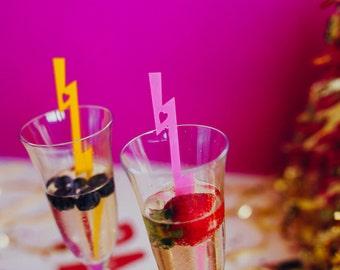 Lightning Bolt Swizzle Sticks, Drink Stirrers, Stir Sticks, Laser Cut, Acrylic, 6 Ct.