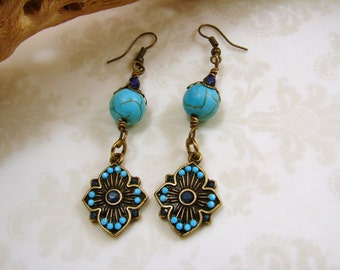 Antique Brass and Turquoise Dangle Earrings