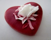 HEART SOAP BAR - gifts for teens, gifts for woman, heart with rose soap, Stocking stuffer for her
