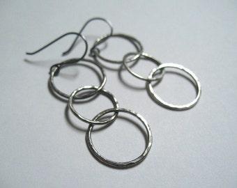 Handmade Circle Earrings Fine Silver Jewelry Hammered Oxidized Hoops Dangle Earrings Linked Circles