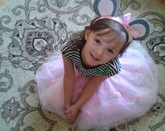 Pink Tutu with Roses and  Mouse Ears for children