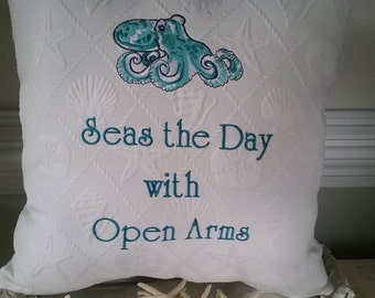 Embroidered Octopus Pillow - 16x16 - Seas the Day with Open Arms - Customizable