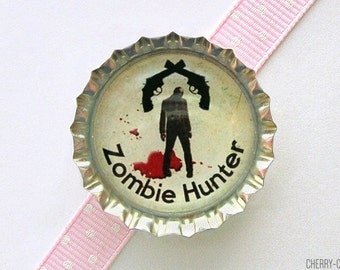 Zombie Magnet, Bottle Cap Magnet, zombie decor, boyfriend birthday gift, zombie gifts, zombie party favors, stocking stuffer, secret santa