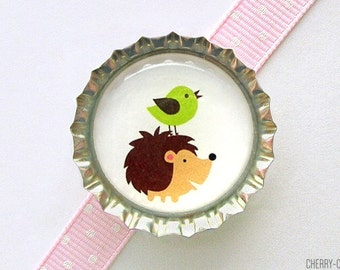 Hedgehog & Bird Bottle Cap Magnet - hedgehog birthday, woodland animal baby shower favor, woodland party favor, hedgehog baby shower, decor