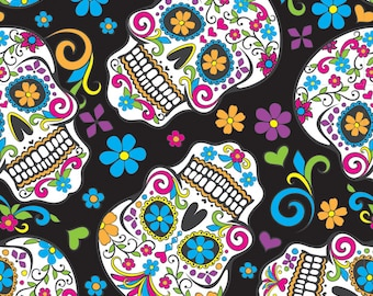 "Fat Quarter Craft Fabric 18""x22"" Folkloric Skulls Designed By David Textiles for Quilting/ Home Decor/Arts & Crafts, Fabric Print Jewelry"