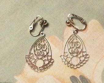Lightweight Silver Teardrop Clip On Earrings or Pierced