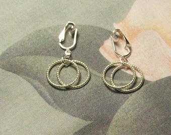 Clip on or Pierced Silver Double Spiral Hoop