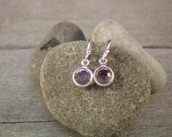 Sterling Silver Earrings with Swarovski Crystal June Birthstone Purple