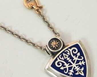 Pendant Necklace, Silver Sterling Chain, Enamel Blue, Silver application Gold elements, gold 9k , Jewelry Design Pendant, handmade Necklace