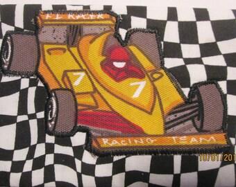 Bags & Purses Racecar Wallet money clip 7 x 4 Black White Fabric Racing Team Applique, #3 Racecar on back Pouch coin Purse Accessory