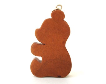 Teddy Bear Silhouette Pendant Necklace Wood Country Jewelry Hand Cut Scroll Saw Cherry