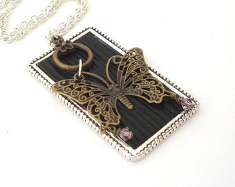 Butterfly Necklace Metal Woodland Nature Jewelry Black Textured Leather Bronze and Silver
