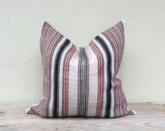 """Stripe Pillow Case Nature Hemp Hand Woven  A Piece Of Vintage Tribal Textile 20"""" x 20"""" Front And Reverse Same Fabric"""