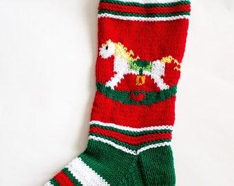 Knit Rocking Horse Christmas Stocking - Personalized