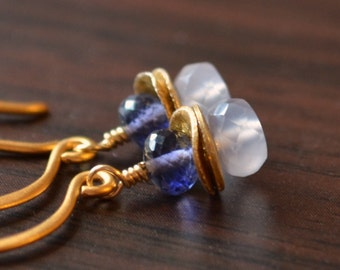 Gold Dangle Earrings, Iolite and Natural Chalcedony, Gemstone Stacks, Vermeil Jewelry, Navy Blue and Periwinkle, Free Shipping