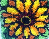 Vintage Hooked Rug Pillow with Sunflower Flower
