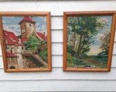 Vintage Set of TWO Large Crewel Needlepoint Framed Pictures Villa and Landscape Handmade