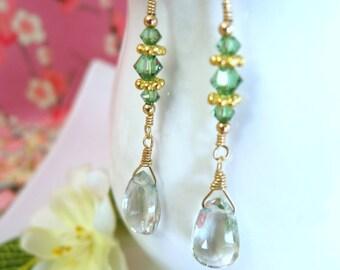 Green amethyst gold dangle earrings, sage green drop gold earrings, green wedding jewelry, green rustic wedding earrings, botanical earrings