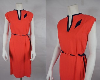 1970's/1980's Coral Linen Shift Dress with Navy Blue Accents by I. Magnin