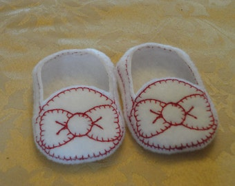 """18"""" Doll Shoes - White Bow Slip Ons"""