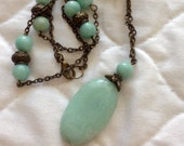 Aqua Blue Amazonite Pendant Necklace