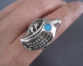 Vintage Sterling Turquoise Navajo Bird Ring
