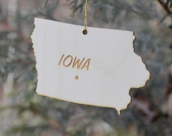 Natural Wood Iowa State Ornament
