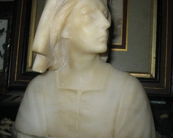 On Sale!!! Antique Ca. 1825 FRENCH Joan of Arc  Woman's Solid MARBLE Bust FACE Figure