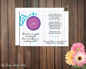 Bridal Shower Invitation or Couple's Shower - Around the Clock Themed