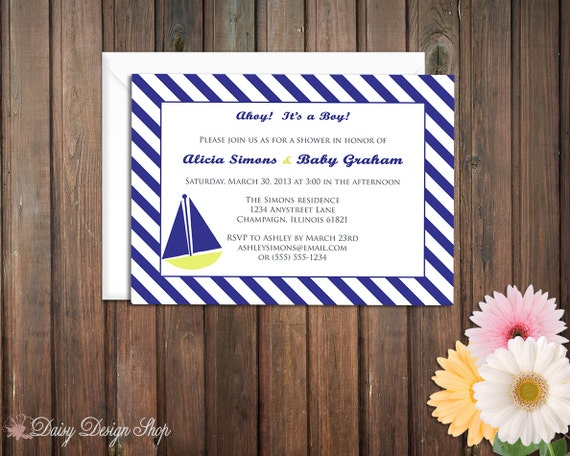 Baby Shower Invitation - Sailboat and Stripes
