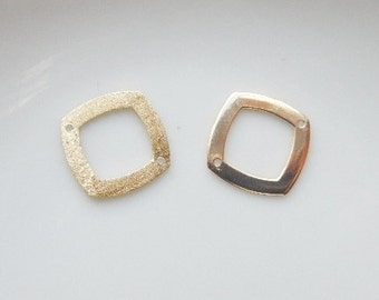 2pcs  Gold Vermeil square   link, connector , gold plated sterling silver