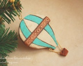 Vintage Striped Hot Air Baloon - christmas ornament, custom color and text