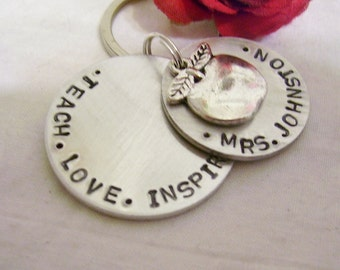 Teach, love, inspire, hand stamped key chain, special teacher gift, with silver apple charm, teachers name, gift for teacher,