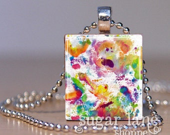 Watercolor Paint Splatter Necklace - (Purple, Blue, Green, Yellow, Orange, Red) - Scrabble Tile Pendant with Chain
