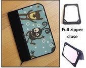 personalized HARD case - ipad case/ kindle case / nook case/ samsung case/ others - full zipper close - wacky monsters