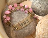 HOPE Breast Cancer Awareness Bracelet Antique Brass Pink Cats Eye Pink Crackle Glass