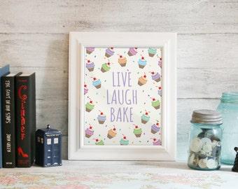 Baking Poster, Banking Print, Kitchen Art, Cupcakes, Instant Download, Printable: Live, Laugh, Bake