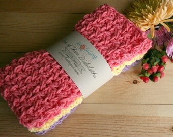 Crochet Cotton Dish Cloth - Set of Three Wash Cloths