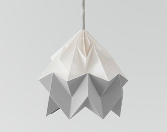 Moth origami lampshade grey and white