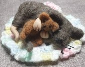 Needle Felted Mouse and his Teddy Bear